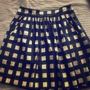 Blue and white checkered skirt